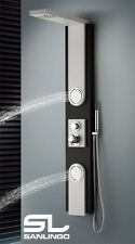 Aluminium Shower Panel Tower Rainshower Massage Body Jets Black White Sanlingo
