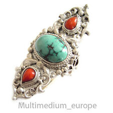 Tibétaine Argent Bague Corail Turquoise Tibetian silver ring touquoise Coral