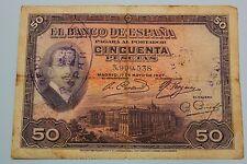 "50 PESETAS 1927 SPAIN SELLO REPUBLICA, ALFONSO XIII BANKNOTE  PICK# 80 ""G"""