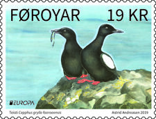 FAROE ISLANDS 2019 CEPT BIRDS BLACK GUILLEMOT 2 STAMPS