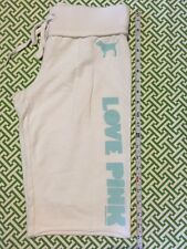 Victorias Secret Pink Cropped Sweat Pants White Turquoise French Terry Sz XS