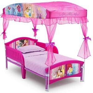 Girls Gift Disney Princess Theme Pink Kids Decor Children Toddler Bed w/ Canopy