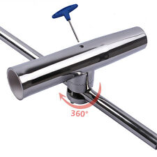 "Boat Stainless Fishing Rod Holder Clamp-On 7/8""-1"" Rail Mount Adjustable Rod Pod"