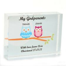 Godparents Owl Crystal - Unique Personalised Gift For Godparents