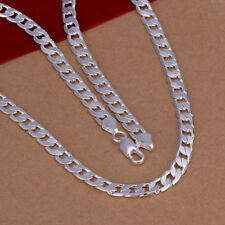 925 Silver Fashion Jewelry Flat Sideways Women Men Necklace 6MM 20inch NP047