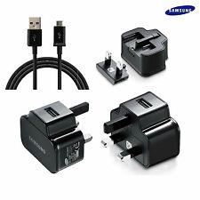 MAINS CHARGER & MICRO USB CABLE For SAMSUNG GALAXY Tab 3 8.0 BLACK 2AMP