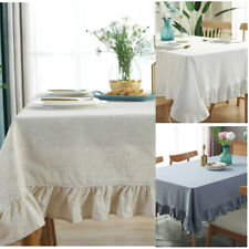 Rectangular Table Cloth Solid Color Table Cover Wipe Clean Party Lotus Lace
