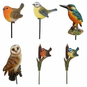Garden Bird Ornaments. Robin, Blue Tit, Barn Owl, Kingfisher Outdoor Animals