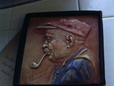 1949 Alice Cranston Fenner Hand Painted Chalkware Gramp Old Man Wall Placque