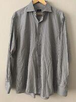 Ermenegildo Zegna Mens Gray White Black Stripe Long Sleeve Shirt XL Made Italy