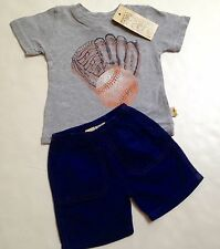 Charlie Rocket Boutique Brand Boys Short Set Size 6-9mo~Baseball~New~Made USA
