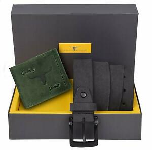 Combo Set New Men's Green Colour Leather Bi-fold Wallet and Gray Belt Gift Item