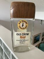 VINTAGE OLD CROW WHISKEY BOTTLE EMPTY 3/4 QUART TRAVELER w/CAP!