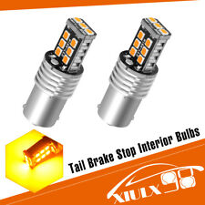 2x Amber/Yellow 1156 BA15S High Power 15W 2835 Car LED Interior Light Bulb 4300K