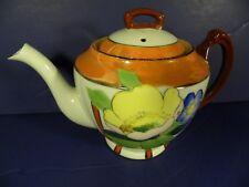 Vintage Orange Lusterware Teapot Made in Japan Flowers Handpainted