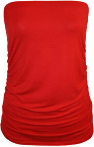 Womens Ladies Ruched Sides Boob Tube Stretch  Sleeveless Top women 8-26