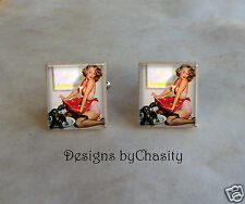 Pinup Scrabble Cuff Links Red Dress Sexy Girl Altered Art Charms Dog Groomer