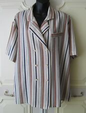 St Michael M&S Striped Double Breasted Short Sleeve Blouse - UK16 EU44 - 1980s