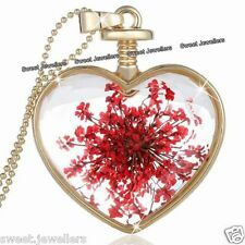 Red Flower & Gold Heart Pendant Necklace NEW Xmas Jewellery Gifts For Her Women