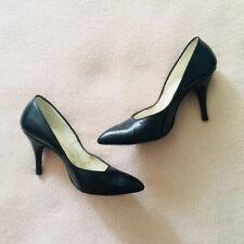Vintage Delmanette Black Leather Heels Unique Square Geometric Cut 6/6.5