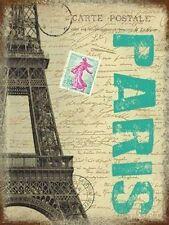 Paris Post Card France City Eiffel Tower Stamp Gift Medium Metal/Tin Sign