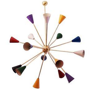 Mid Century Modern Sputnik Italian Chandeliers Multicolored Stilnovo Style Light