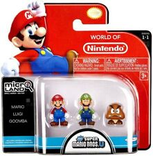 Micro Land Series 1 Mario, Luigi & Goomba Mini Figure 3-Pack