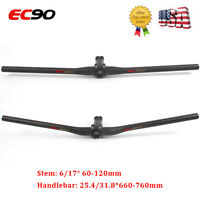 EC90 MTB Mountian Bike Handlebar/Stem Carbon+AL Flat/Riser Bar 25.4/31.8mm US