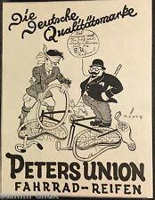 Peters Union Fahrrad Reifen,signiert Münch,orig.Anzeige 1926