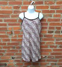 Vintage 90s Slip Dress Womens Purple Patterned Velvet Trim (1325)