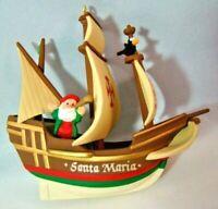 Hallmark Ornament Santa Maria Ship Christmas Santa Keepsake Box Vintage 1992