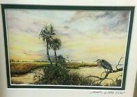 Art Print Framed Signed Linda K. Della Poali Steinhatchee Florida