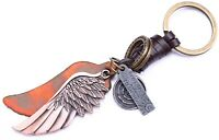 AuPra Angel Love Wing Leather Keyring Gift Idea Keychain Key Ring for woman man