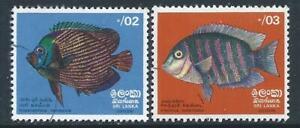 Sri Lanka 1972 Fishes Emperor Angelfish VFU & Banded Green Chromide Fine HM