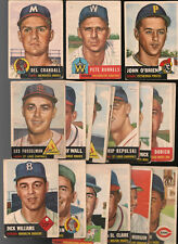 VINTAGE LOT 50 TOTAL CARDS 1953 1594 1955 TOPPS POOR & FAIR CONDITION + 8 BOWMAN