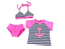 """Anchor 3pc Bathing Suit Fits 18"""" American Girl Doll Clothes"""
