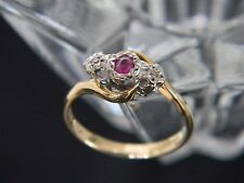 VINTAGE 18CT YELLOW AND WHITE GOLD RUBY AND DIAMOND RING!