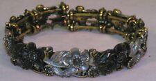 Crystal Rhinestone Inlaid Flower Bangle Bracelet, Spring Closer, Lavender Color