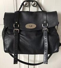Mulberry Oversized Alexa Black Buffalo Leather Handbag Silver Nickel Hardware