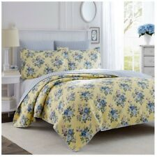 Laura Ashley Linley Quilt Set Full/Queen Comforter Bedding w Sham Pillow Cotton