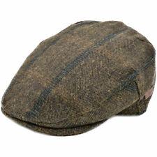 Quality Olive Green Overcheck Flat Cap Herringbone Tweed Hat Mens 80% Wool