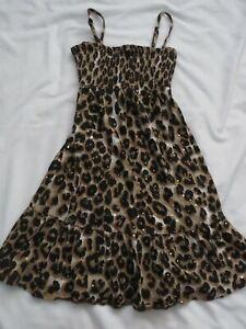 Girls Justice Brown/Black Animal Print Sundress Size 10