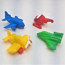 """Vintage Plasto Finland Planes Set of 4 Aircraft Helicopter 4"""" Bright Plastic"""