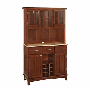 Buffet of Buffets Cherry with Natural Wood Top with Hutch by Home Styles