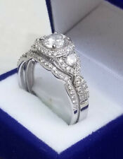 2 Ct Round cut Diamond Engagement Ring Wedding set White Gold Sterling Size 6