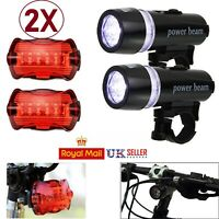 2 x Waterproof 5 LED Bike Bicycle Cycle Front and Rear Tail Light Bright Lights