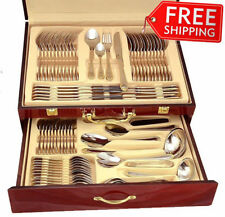 75-Pc Flatware Set 18/10 Stainless Silverware 24K Gold Hostess Service for 12