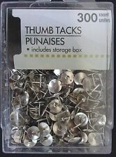 SILVER  Colored Thumb Tacks 300 count, include Storage Box Sealed