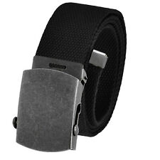 Men's Golf Belt in 1.5 Antique Silver Slider Buckle with Canvas Web Belt