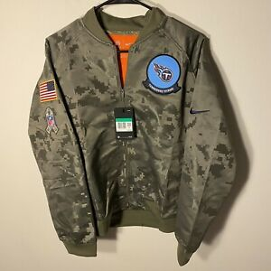 TENNESSEE TITANS CAMOUFLAGE WOMENS NFL NIKE SALUTE TO SERVICE Bomber JACKET XL